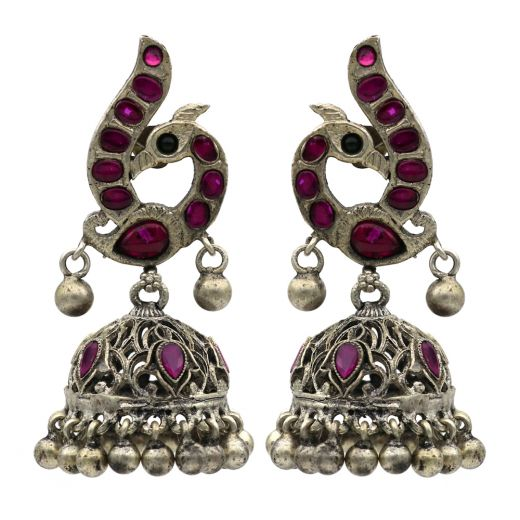 Peacock Design Silver Jhumka With Beautiful Pink Stones