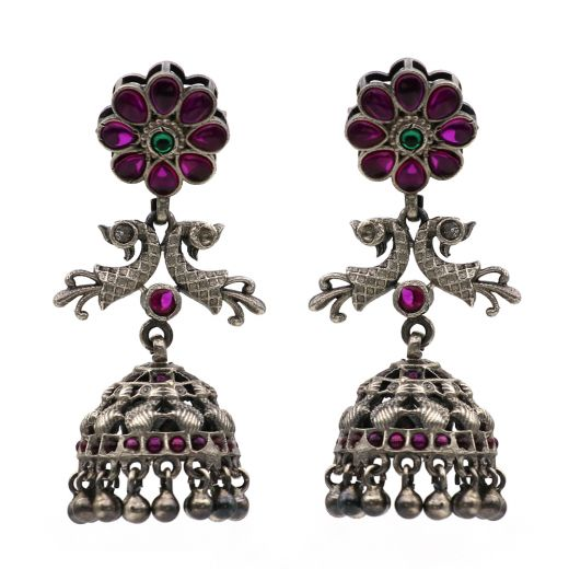 Antique Peacock Design Silver Jhumka With Natural Stones