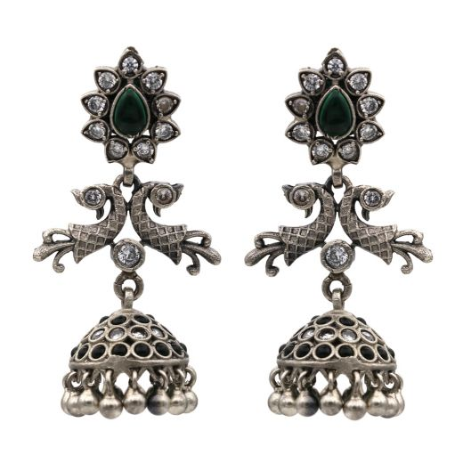 Peacock Design Silver Jhumka With Beautiful Green Stones