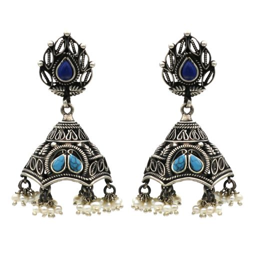 Floral Design Silver Jhumka With Skyblue & Blue Stones