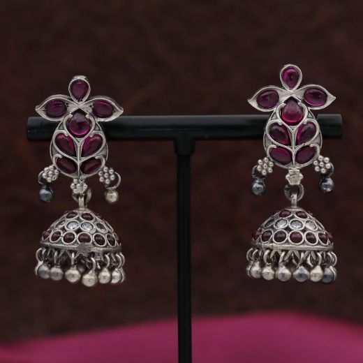 Floral Pattern Silver Jhumka With Purpal Stones