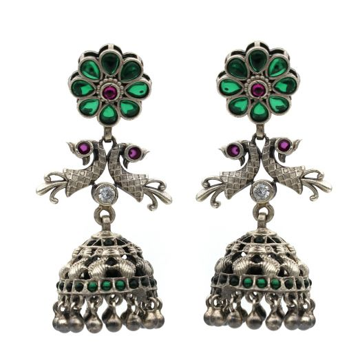 Green Stone Flower With Peacock Silver Jhumka