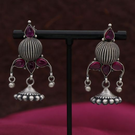 Oxidised Round Ball Silver Jhumka With Purpal Stones