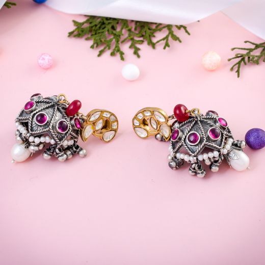 Amazing Designed Sterling Silver Jhumka With Ghungroo