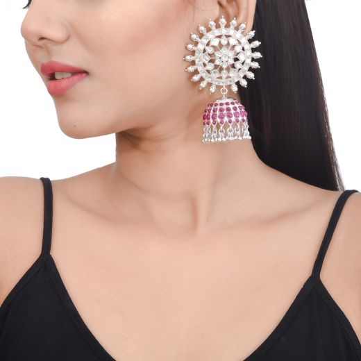 Flower design pure silver jhumkas with white and pink stones