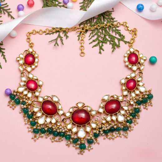 Gold Plated Oval Shape Red Stone Silver Necklace With Pearl
