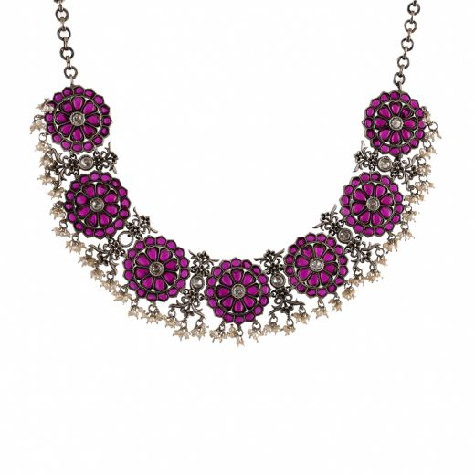 Spinel Stones Silver Necklace