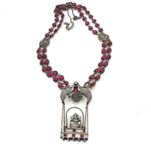 Temple Silver Necklace Set With Stones