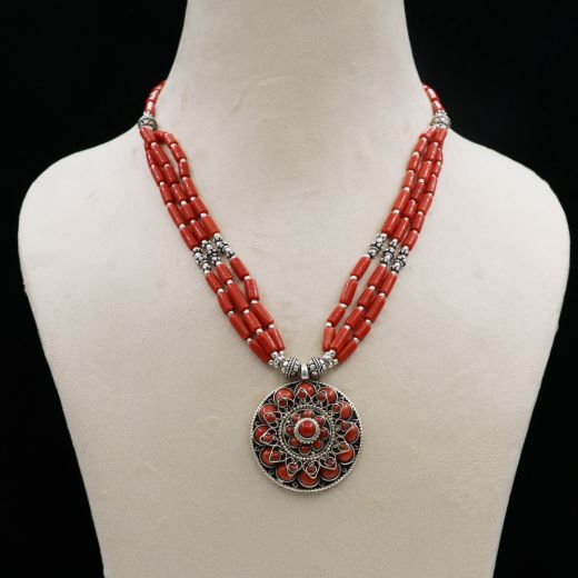 Oxidized And Sterling Silver Studded Tribal Necklace With Red Stone.