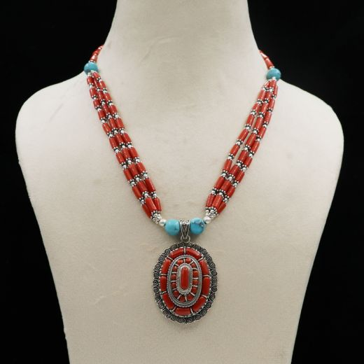 Pure Silver Necklace With Beaded Design With Red And Sky Blue Stone.
