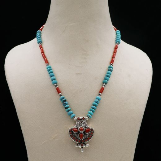 Tribal Handcrafted Silver Necklace With Red And Sky Blue Stone.