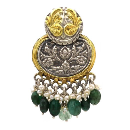 Peacock Pattern Silver Pendant With Beautiful Pearls