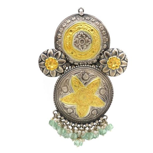 Floral Silver Pendant With Peacock Prints