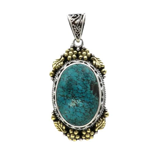 925 Sterling Silver Pendant With Oval Shape Of Sky Blue Stone.