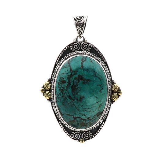 Sterling Silver Turquoise Pendants Oval Shape With Sky Blue Stone.