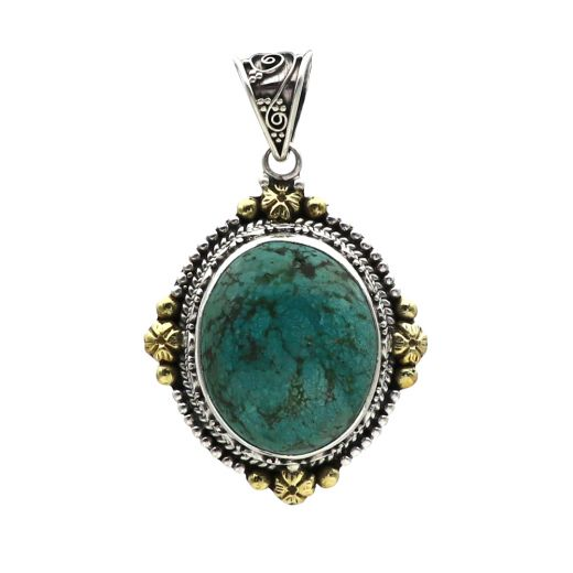 925 Sterling Silver And Oxidized Studded Tribal Pendant With Blue Stone.