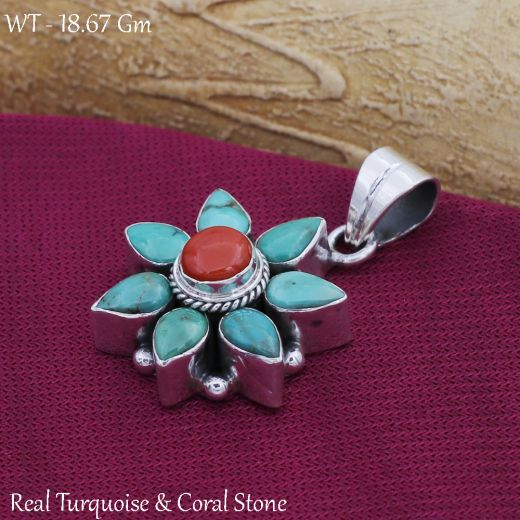 Handmade Antique Silver Pendant Star Shape With Blue And Red Stone.