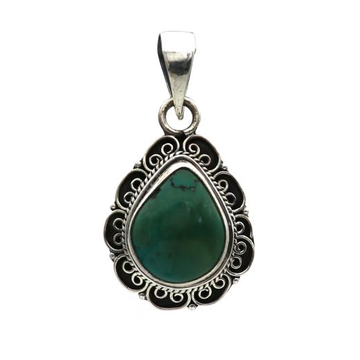 925 Sterling Silver And Teardrop Malachite Pendant With Blue Stone.