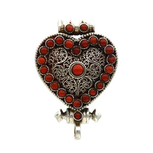 Heart Shape Sterling Silver Pendant With Red Stone.