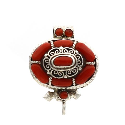 Coral Sterling Silver Gau Pendant And Oval Shape With Red Stone.