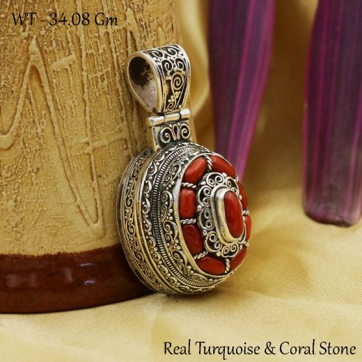Handmade Antique Silver Pendant Oval Shape With Red Stone.