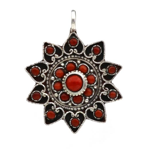Coral Sterling Silver Gau Pendant And Star Shape With Red Stone.
