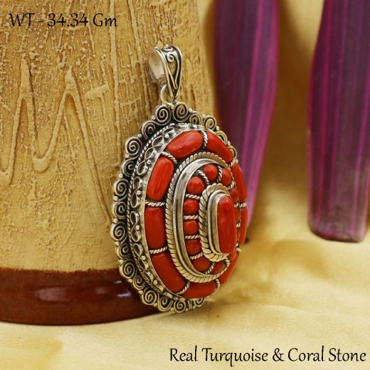 Oxidized Dome Shape Silver Pendant With Natural Red Stone.