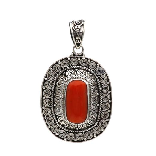 Sterling Silver Red Coral Hand Cut Pendant With Red Stone.