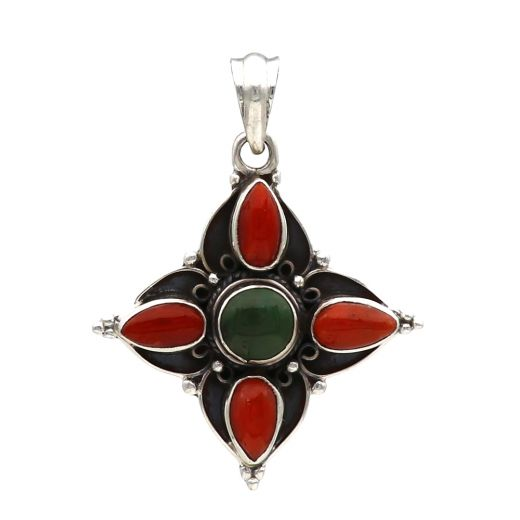 Oxidized Star Shape Silver Pendant With Red And Green Stone.