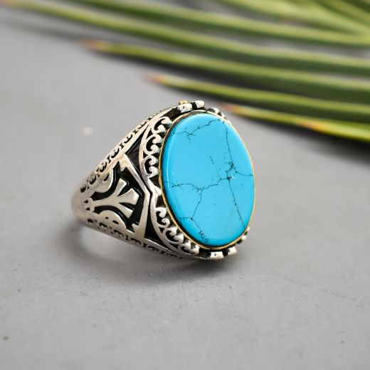 Turquoise Stone Silver Men's Ring
