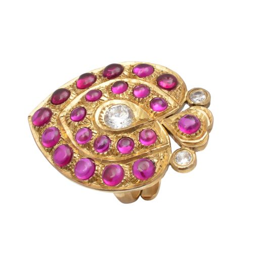 Gold Tone Silver Ring In Heart Shaped Design