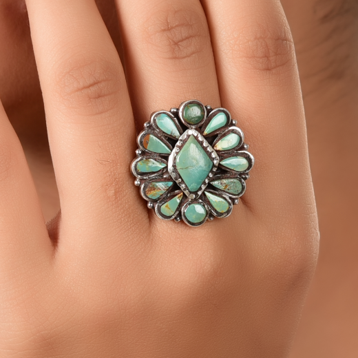 Flower design silver ring with turquoise stone