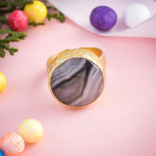 Banded Agate Sterling Silver Gold Polished Ring