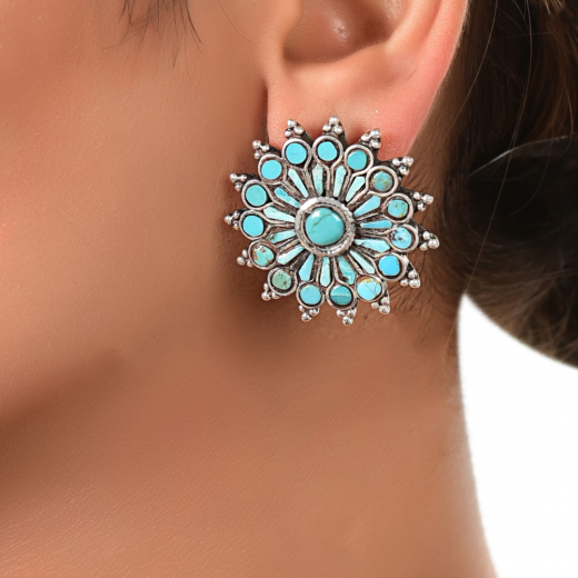 Beautiful chakra design silver stud with turquoise