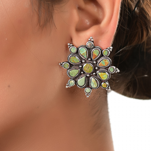 Oxidised silver stud in flower design with turquoise